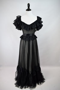 1970s Black Lace Off-The-Shoulder Gown