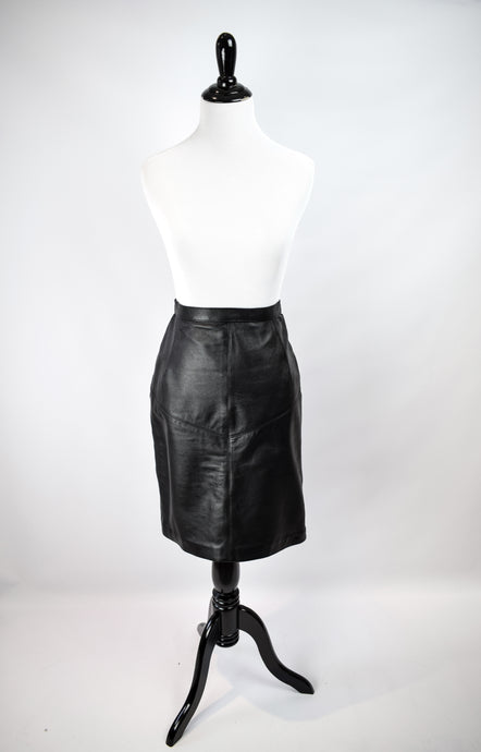 1970s Black Leather Skirt