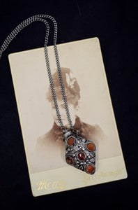 Vintage Silver & Stone Perfume Bottle Necklace