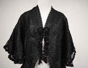 1890s Victorian Mourning Black Silk Cord Jacket