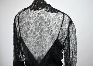 1930/40s Black Lace Gothic Evening Gown