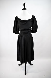 1940/50s Black Off-The-Shoulder Dress