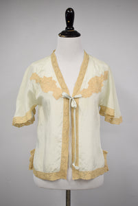 1930s Seafoam Silk & Lace Bed Jacket