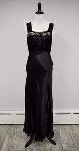 1940s Black Silk Taffeta & Lace Nightgown