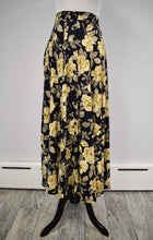 1990s Dark Floral Buttoned Midi Skirt