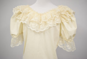 1980s Cream Lace Puff Sleeve Blouse