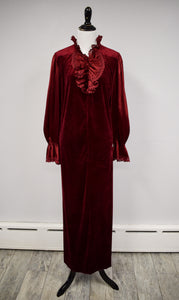 1990s Burgundy Velvet Ruffle House Dress