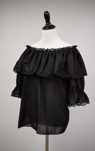 1970s Black Ruffle Off The Shoulder Blouse
