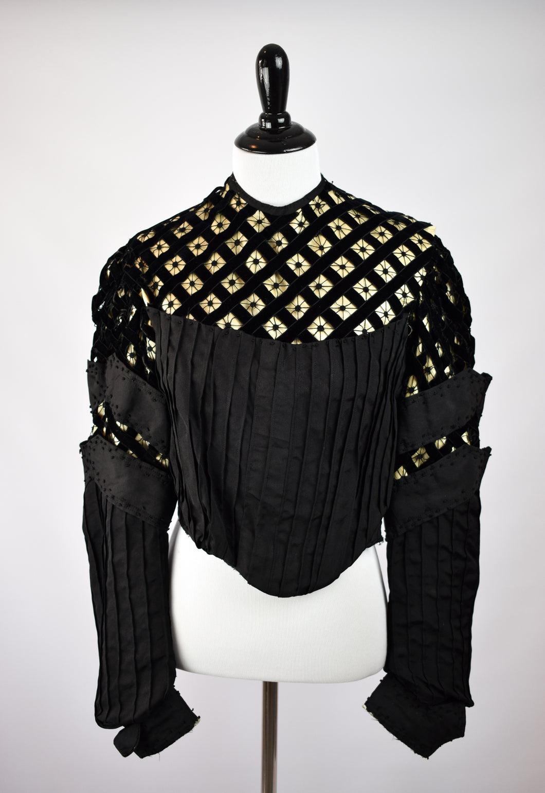 1880s Spiderweb Lattice Bodice Jacket