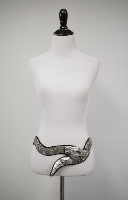 1980s Leather & Metal Articulated Snake Belt