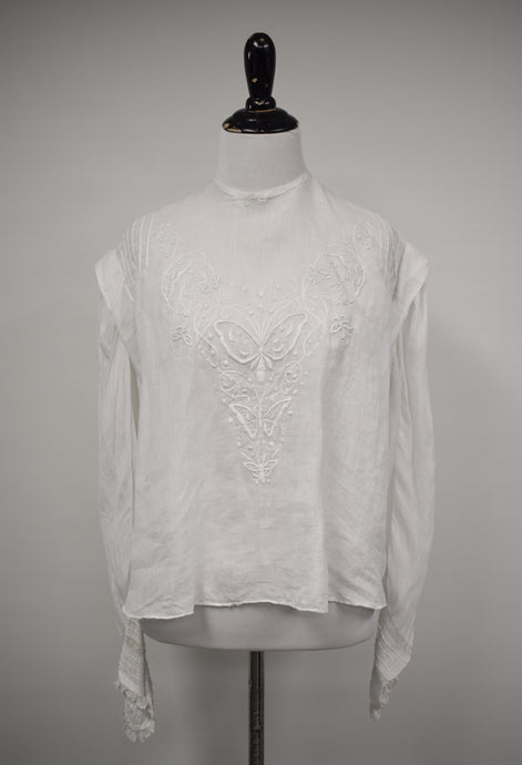 1910s Edwardian Art Nouveau Butterfly Embroidered Blouse