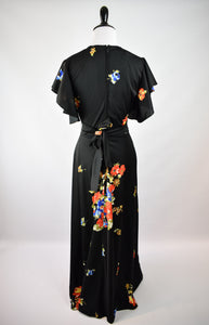 1970s Does 30s Dark Floral Maxi Dress