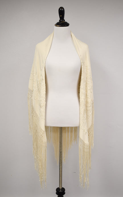 1930s Cream Embroidered Fringe Shawl