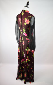 1960/70s Sheer Sleeve Dark Floral Maxi Dress