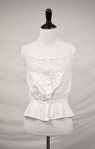 1910s Edwardian Buttoned Crochet Camisole