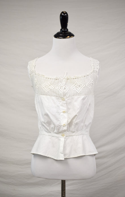 *RESERVED* 1910s Edwardian Buttoned Crochet Camisole