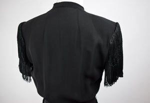 1940s Black Crepe Fringe Dress