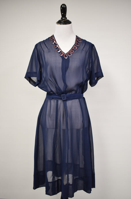1940s Sheer Navy & Sequin Dress