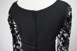 1960s Black Lace Illusion Sleeve Dress