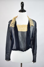 1910s Sheer Navy Lace-Trimmed Blouse
