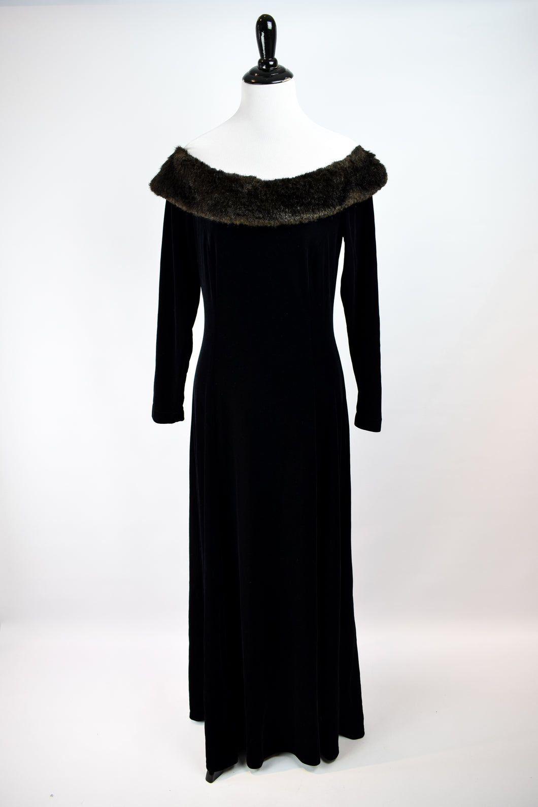 1990s Black Velvet & Faux Fur Gown