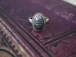 1890s Victorian Silver & Hematite Snake Ring