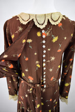 1930s *RARE* Cold Rayon Brown Floral Print Dress