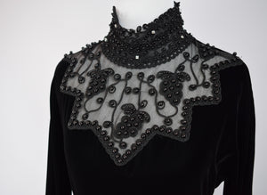 1990s Black Velvet Jeweled Gown
