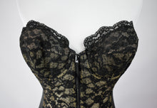 1950s Black Lace & Nude Mesh Corselette