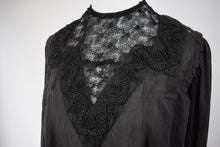 1900s Black Tissue Silk Soutache Blouse