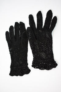 1950s Black Fishnet Crochet Gloves