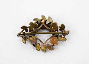 1860s Victorian Pinchbeck & Seed Pearl Crescent Moon Pin