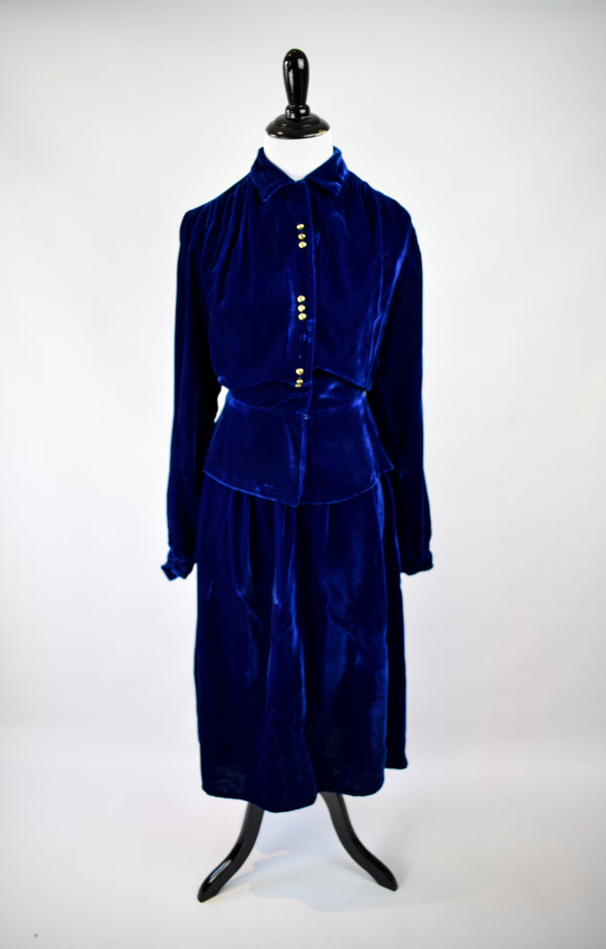 1940s Blue Velvet Peplum Set