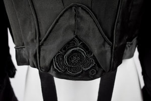 1890s Victorian Mourning Black Silk Floral Bodice