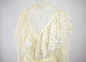 1970s Edwardian Lace High Neck Gown