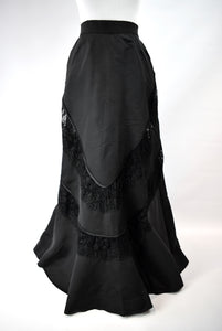 1880s Victorian Belle Époque Black Lace Skirt