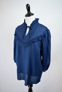 1970s Blue Ruffled Blouse