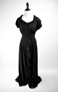 1940s Black Lace Trim Gown