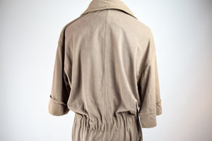 1970s Fawn Brown Zip-Up Jumpsuit