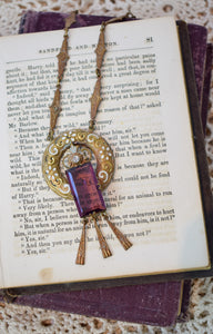 1930s Art Deco Amethyst Czech Glass & Brass Necklace