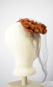 1940s Burnt Orange Cocktail Hat