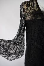 1930s Black Lace Trumpet Sleeve Gown