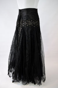 1890s Victorian Lace & Tulle Costume Skirt