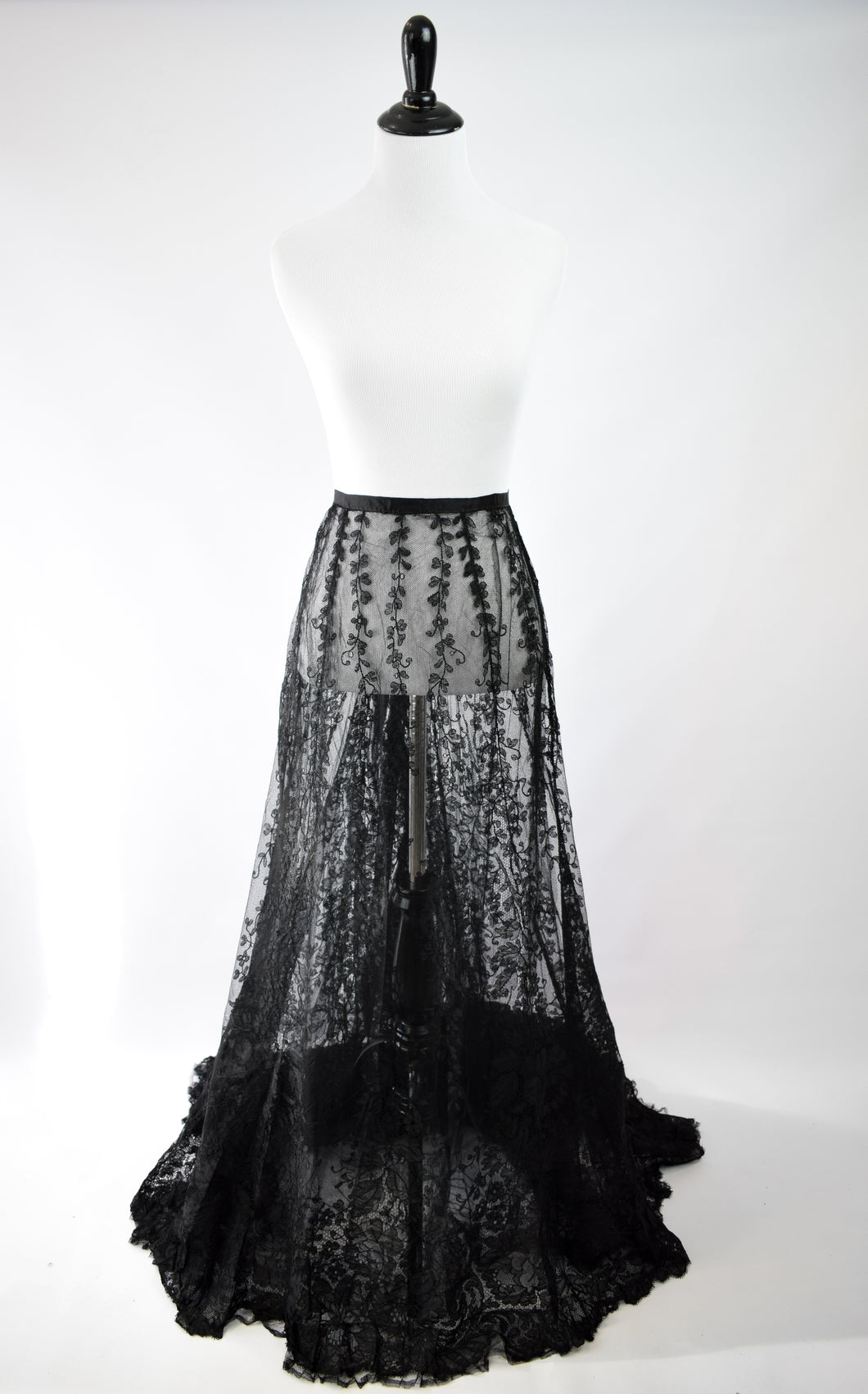 1880s Victorian Sheer Black Lace Skirt