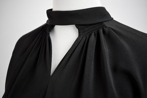 1940s Black Silk Crepe Cutout Dress