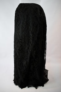 1890s Victorian Mourning Black Lace Skirt