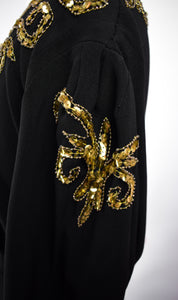 1940s Gold Sequin & Black Crepe Evening Gown