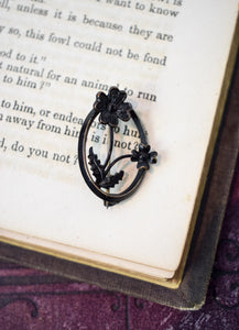 1890s Victorian Mourning Floral Pin