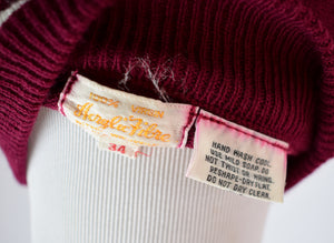 1960s Burgundy Collared Sweater