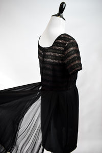 1950s Black Lace & Sheer Panel Cocktail Dress
